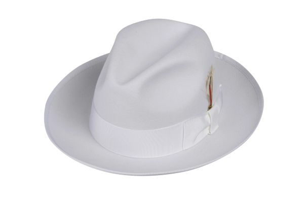 Boy's Gangster Fedora Hat in White #NHT23-70