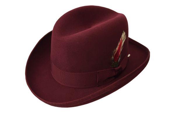 Deluxe Homburg Fedora Hat in Bordeaux #NHT25-45