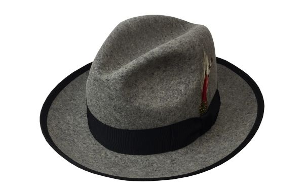 Deluxe Oxford Fedora Hat in Oxford Grey with Black Band #NHT23-03B
