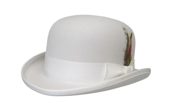 Deluxe Morfelt Derby Hat in White #NHT31-70