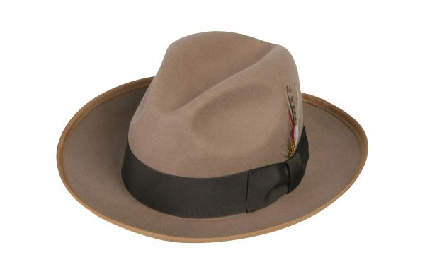 Deluxe Gangster Fedora Hat in Camel / Tan #NHT23D-74
