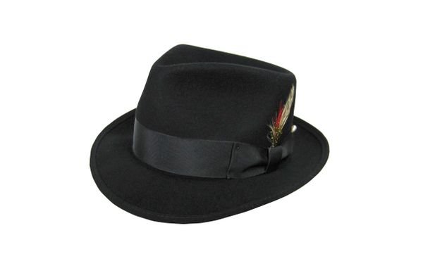 Deluxe Pinchfront Fedora Hat in Black #NHT26-01