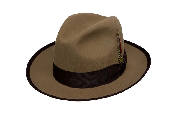 Special Gangster Fedora Hat in Camel Tan w/ Brown Band & Trim - #NHT23-74B
