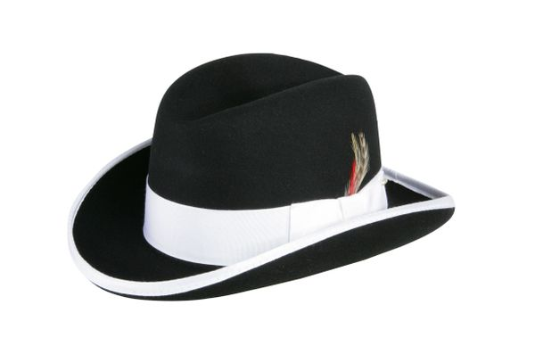 Deluxe Homburg in Black with White Band #NHT25-01W