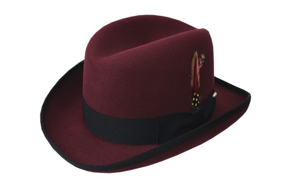 Deluxe Homburg Fedora Hat in Bordeaux with Black Band #NHT25-45B