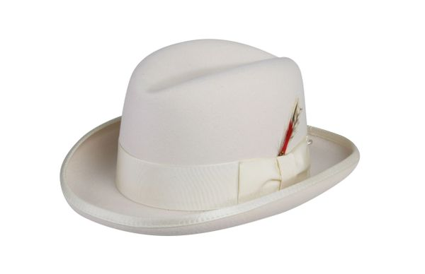 Godfather Homburg Fedora Hat in Ivory #NHT25-71