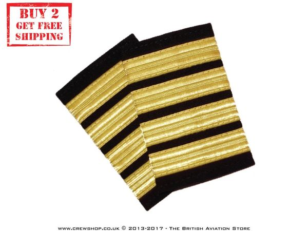 dee37721831 New 4 Bar Gold Pilot Epaulette Captain Shoulder Boards