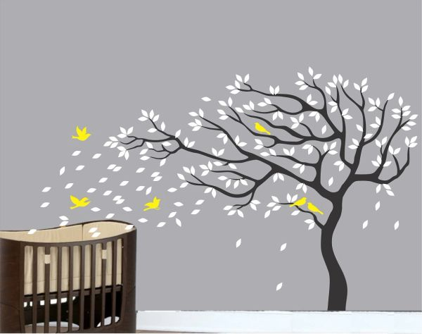 black tree white leaves yellow birds wall stickers decals | online
