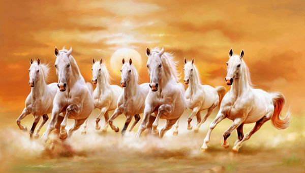 seven running white horses art canvas paintings | online shopping of