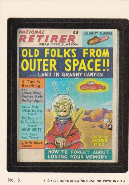 """1985 Topps Wacky Packages Sticker # 5 """"National Retirer"""" Puzzle Back"""