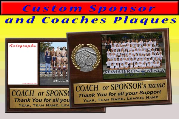 custom sponsor and coaches plaques dci photo