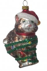 """Season's Greetings"" Cat Glass Ornament"