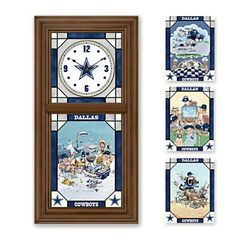 Dallas Cowboys Stained Glass Clock