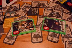 STAR WARS trading cards #245 & 205, Han, Leia, Luke, Chewbacca, trash compactor, Empire personnel ORIGINAL