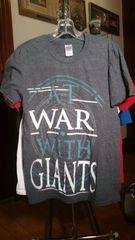 AT WAR WITH GIANTS rare off-center print gray T-shirt SMALL raided from Kodie Testa (Narrow Hearts)
