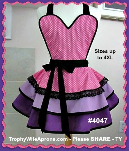 e2ca89b7a34b Hot pink with white polka dots over lavender and purple apron ...