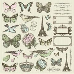 KaiserCraft Icons Sticker Sheet (Bonjour Collection)