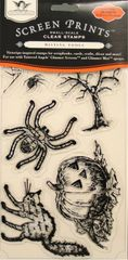 Tattered Angels Screen Prints Small-Scale Clear Stamps Halloween Hauntings (Vintage Seasons Collection)