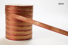 May Arts Ribbon 3/8 Inch Red & Gold Solid Metallic Ribbon