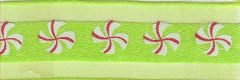 Celebrate It Ribbon 5/8 Inch Green with Red & White Peppermint Candy Sheer Satin Ribbon