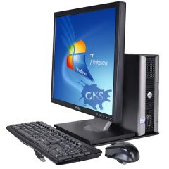 "( Sold out!) Dell OptiPlex 760 Core 2 Duo E8500 3.16GHz 4GB 500GB DVD±RW W7P USFF & Dell 19"" Rotating LCD Monitor Bundle (Refurbished)"