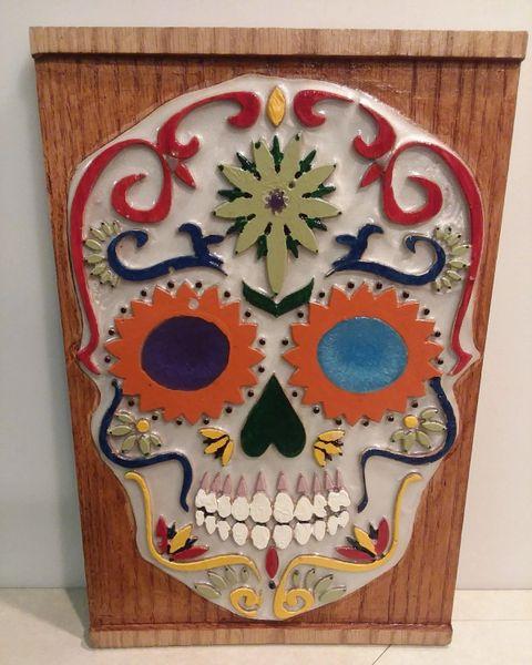 Candy Skull Dia De Los Muertos Cinco De Mayo Plaque Routered Painted Epoxied