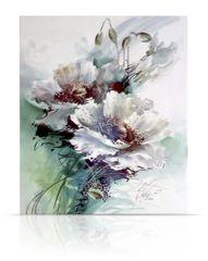 sku#6107 Glazing White Poppies , modern , flower study