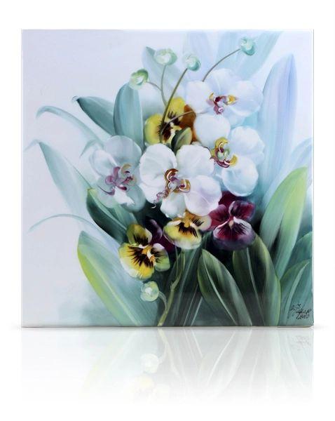 sku#6100 Orchids & Pansy Violets , flower study #1