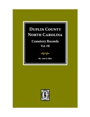 Duplin County, North Carolina Cemetery Records. ( Vol.# B ).