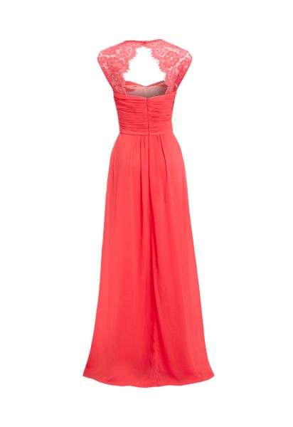 e6898101d0bf0 D.Anna Sweetheart Maxi Dress with Lace Shoulder Detail in Coral | D. ANNA