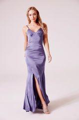 Silkly Satin strap maxi Dress in Grey