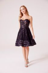 Hand beaded cording lace sweetheart prom dress