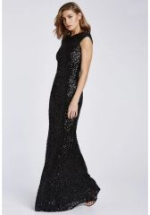 Black Sequin Embellished Maxi Dress With Capped Sleeves