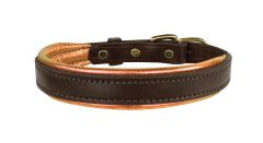 HAVANA BROWN Padded Leather Dog Collar in THREE METALLIC Padding Colors