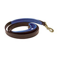 "1"" x 5 foot HAVANA BROWN Padded Leather Dog Leash in EIGHT Padding Colors"