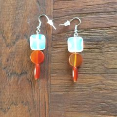 Opalite and Carnelian earrings