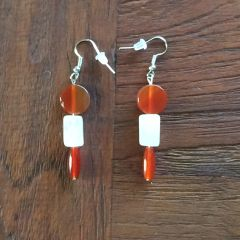Carnelian and Rose Quartz earrings