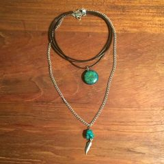 Turquoise leather boho choker with chain