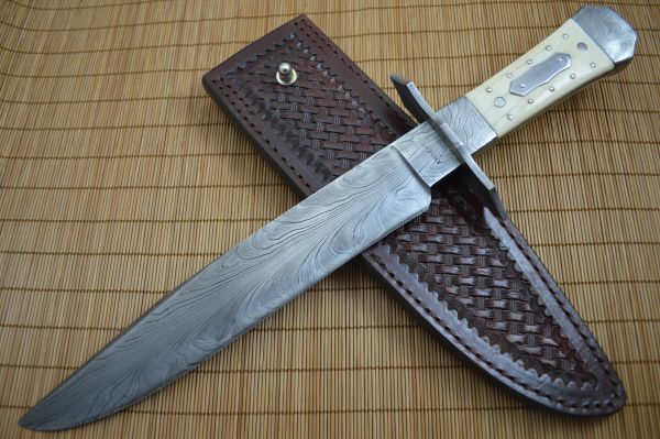 David Anders M.S. Coffin Handle Feather Damascus Bowie, Fossil Walrus Ivory, Rowe Leather Sheath
