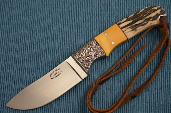 Johnny Stout Engraved Custom Stag, Antique Butterscotch Micarta, Fixed Blade Hunting Knife