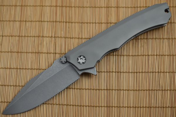 Heretic Knives, Marfione WRAITH, Battle Worn Blasted CPM-154, Gray Handle (SOLD)