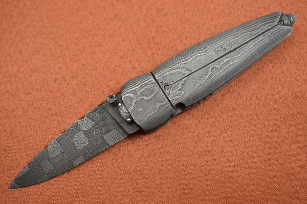 "Al Dippold ""The Scarab"", Damascus Liner-Lock Folder, One-of-a-Kind! (SOLD)"