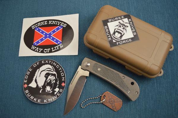 Jim Burke Custom REBEL Slip-Joint Folding Knife, Carved Zirconium Inlays (SOLD)