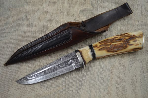 "Roger Bergh ""Fish"" Pattern Damascus and Ivory Hunting Knife"