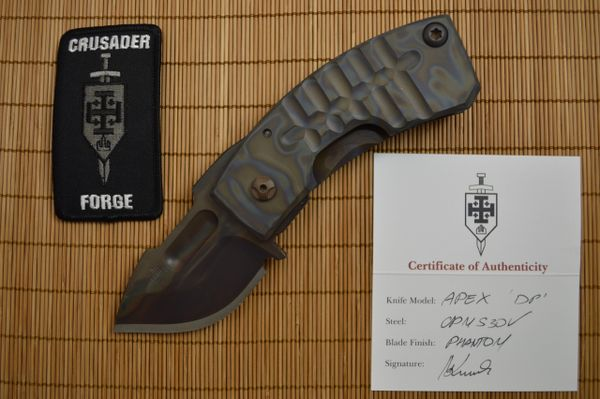 "Crusader Forge ""APEX"" Drop Point, Frame-Lock, Phantom Finish (SOLD)"