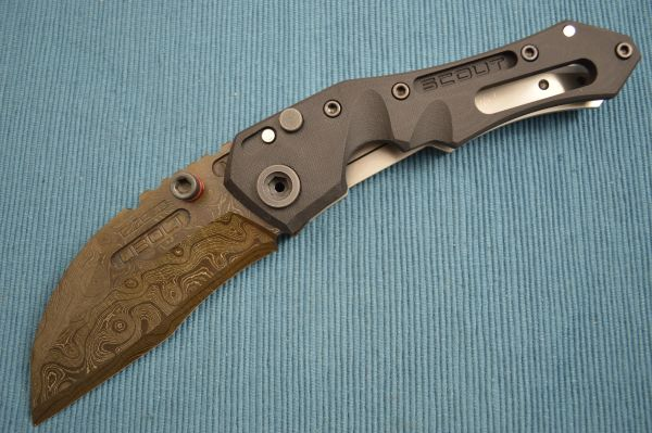 Dwaine Carrillo Alabama Damascus BUTTON-LOCK Scout M4, Black G10 (SOLD)