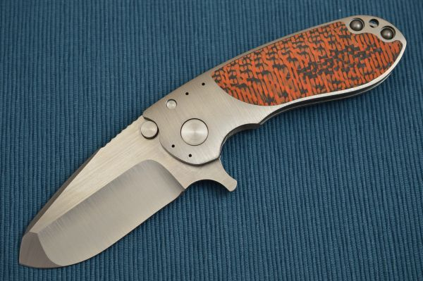 Direware S-96 Flipper, Titanium Frame, Orange / Black CF Inlays, Satin S110V Blade (SOLD)