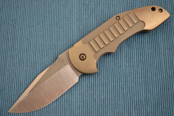 David Mosier Custom Crossfire, Bronze Anodized Frame-Lock Flipper (SOLD)