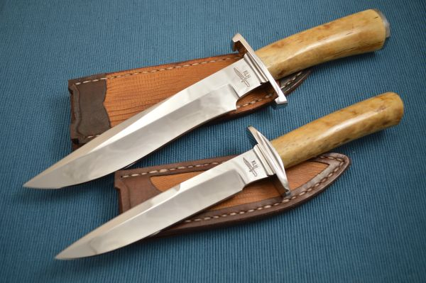 Kevin Hoffman KLH Recurve Bowie and Fighter, Matched Set Walrus Ivory, Leather Sheaths Exotic Inlays
