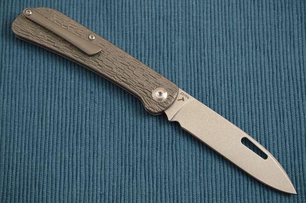 "J.E. Made ""Zulu"" Slip-Joint Folding Knife, Jigged Titanium Handle, Pocket Clip"